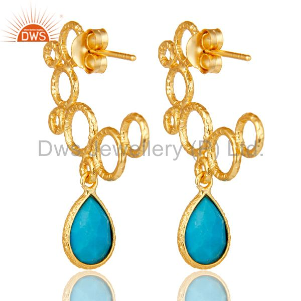Suppliers 18k Yellow Gold Plated 925 Sterling Silver Bazel Set Turquoise Dangle Earrings