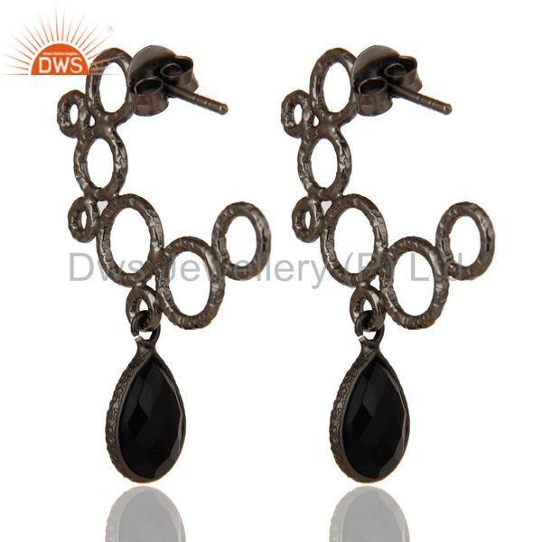 Suppliers 18k Yellow Gold Plated 925 Sterling Silver Bezel Set Black Onyx Dangle Earrings