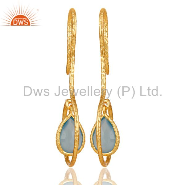 Suppliers 18k Yellow Gold Plated Sterling Silver Handmade Hang In Hook Chalcedony Earrings