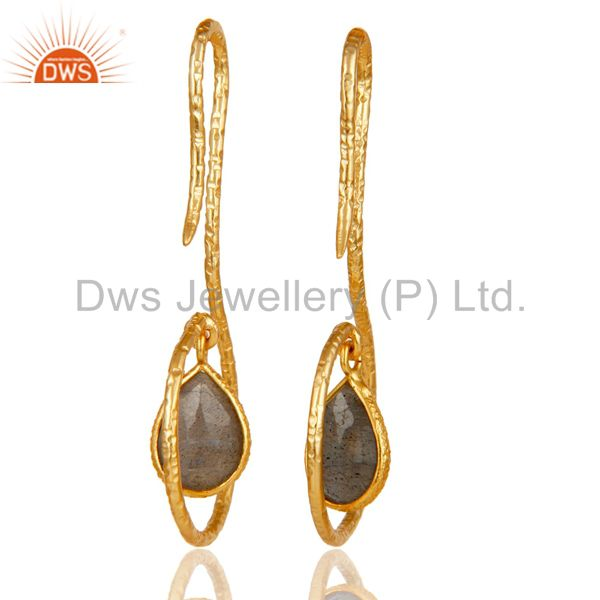 Suppliers 18k Yellow Gold Plated Sterling Silver Handmade Hang In Hook Labradorite Earring