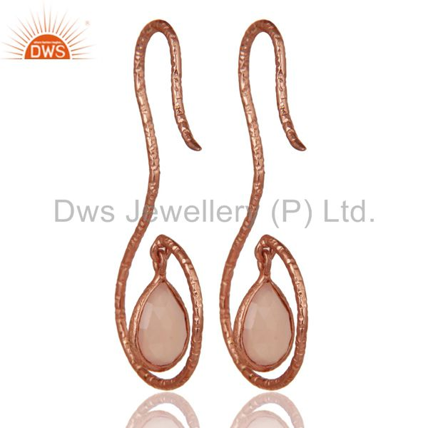 Suppliers 18k Rose Gold 925 Sterling Silver Handmade Hang In Hook Dyed Chalcedony Earrings