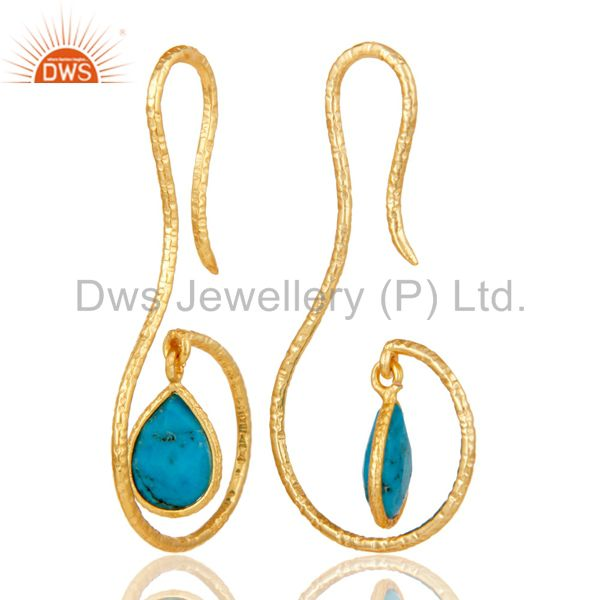 Suppliers 18k Gold Plated Sterling Silver Handmade Hang In Hook Natural Turquoise Earrings