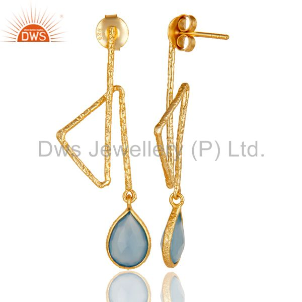Suppliers 18k Yellow Gold Plated Sterling Silver Handmade Zig Zag Style Chalcedony Earring