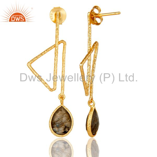 Suppliers 18k Gold Plated 925 Sterling Silver Handmade Zig Zag Style Labradorite Earrings