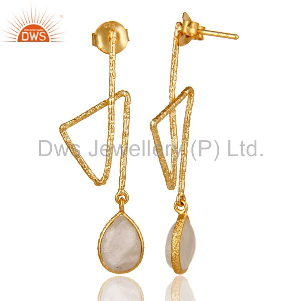 Suppliers 18k Gold Plated 925 Sterling Silver Handmade Zig Zag Style Moonstone Earrings