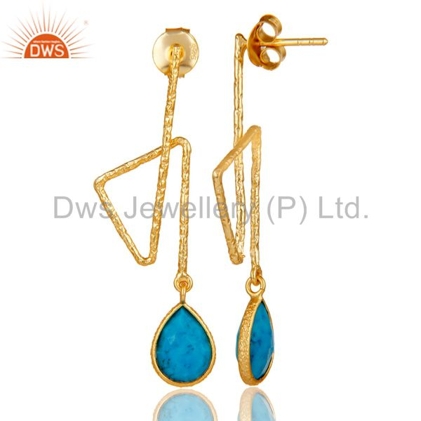 Suppliers 18k Yellow Gold Plated Sterling Silver Handmade Zig Zag Style Turquoise Earring