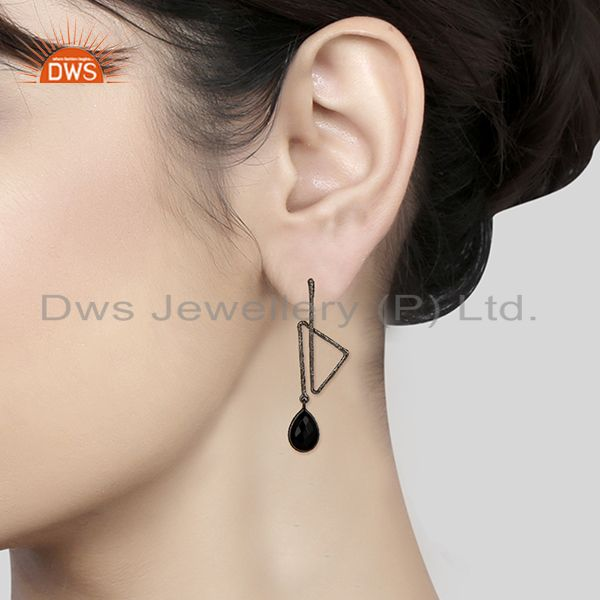 Suppliers Black Oxidized 925 Sterling Silver Handmade Zig Zag Style Black Onyx Earrings