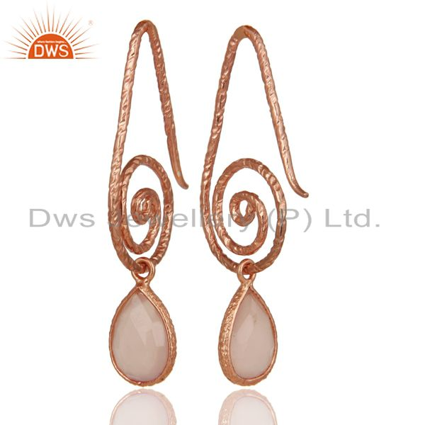 Suppliers Hang In Hook Style Chalcedony Earrings With 18k Rose Gold Plated 925 Silver