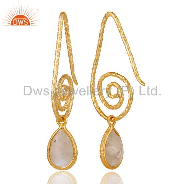 Suppliers Hang In Hook Style Moonstone Drops Earrings with 18k Gold Plated Sterling Silver