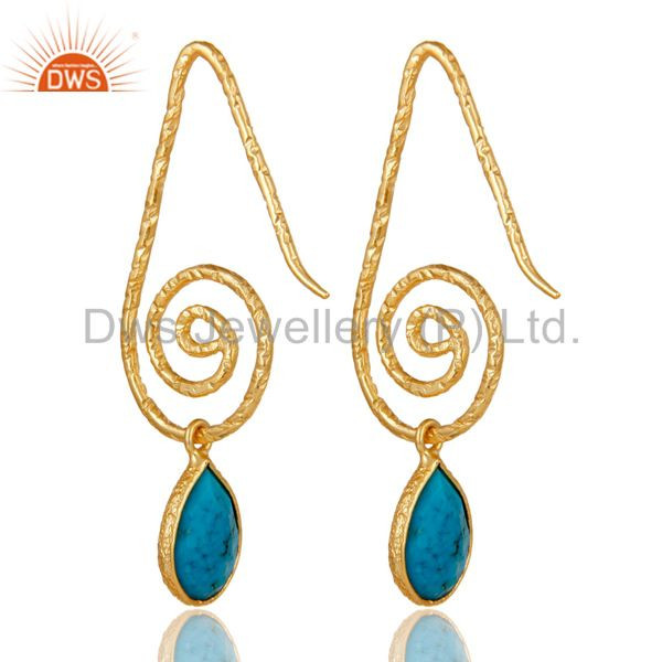 Suppliers Hang In Hook Style Turquoise Drops Earrings with 18k Gold Plated Sterling Silver