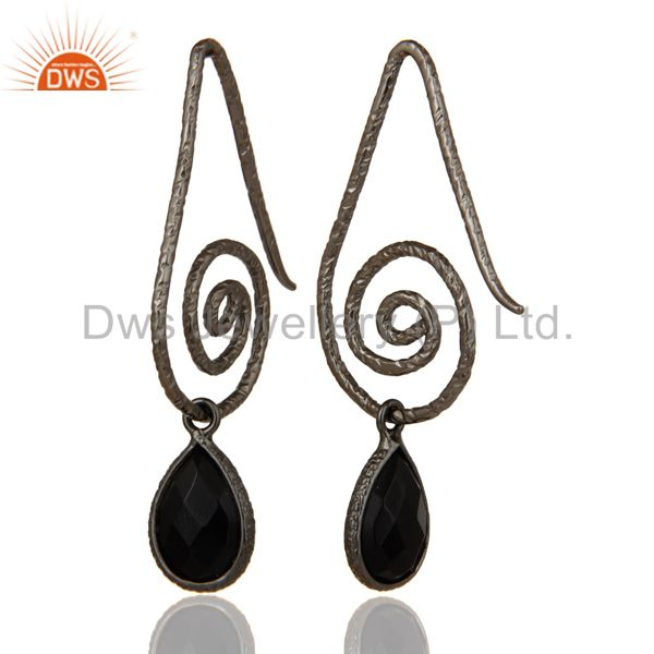Suppliers Hang In Hook Style Black Onyx Drops Earrings with Black oxidized Sterling Silver