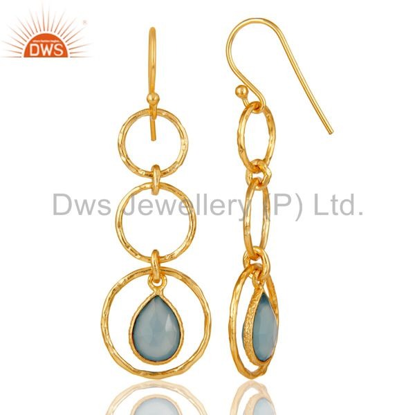Suppliers 18k Gold Plated Sterling Silver Triple Round Cut Dangle Dyed Chalcedony Earring