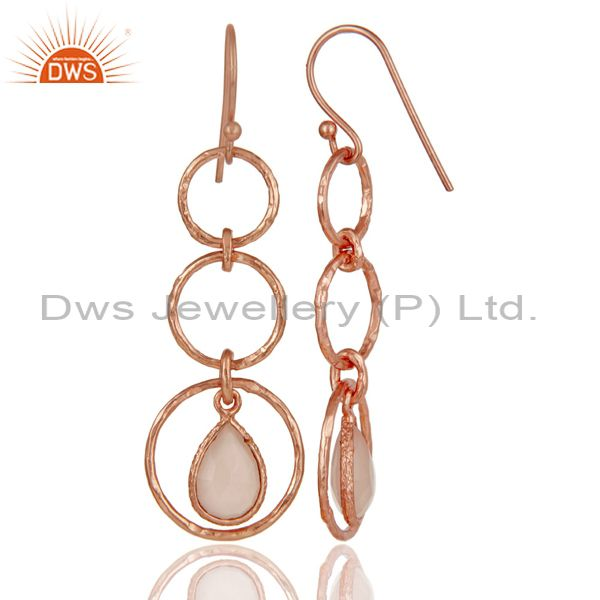 Suppliers 18k Rose Gold Plated Sterling Silver Triple Round Cut Dangle Chalcedony Earrings