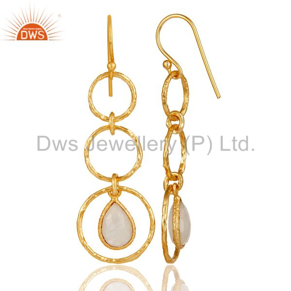 Suppliers 18k Yellow Gold Plated Sterling Silver Triple Round Cut Dangle Moonstone Earring