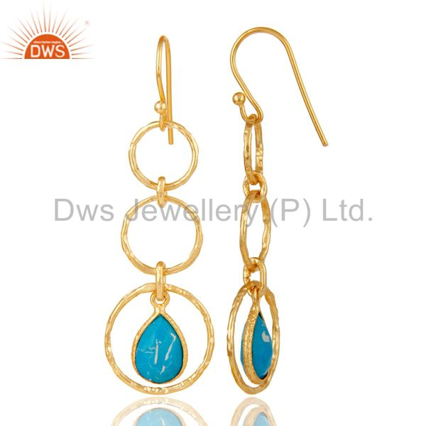 Suppliers 18k Gold Plated Sterling Silver Triple Round Cut Dangle Matrix Turquoise Earring