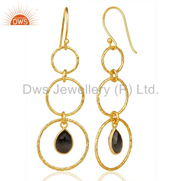 Suppliers Black Onyx Hammered Circle Dangle 14K Gold Plated 92.5 Sterling Silver Earring