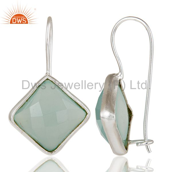 Suppliers Handmade 925 Sterling Silver Dyed Blue Chalcedony Drops Earrings Jewellery