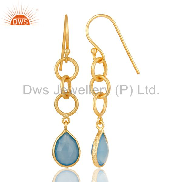 Suppliers Handmade Chalcedony Bazel Set Drops Earring With 18k Gold Plated Sterling Silver