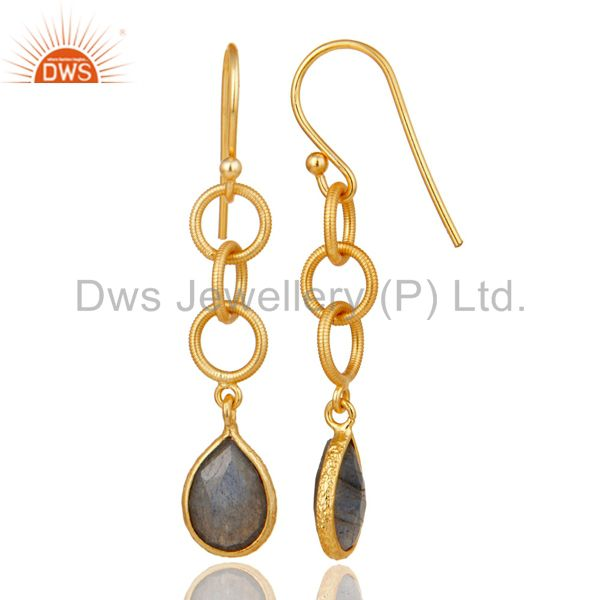 Suppliers Handmade Labradorite Bazel Set Drop Earring With 18k Gold Plated Sterling Silver