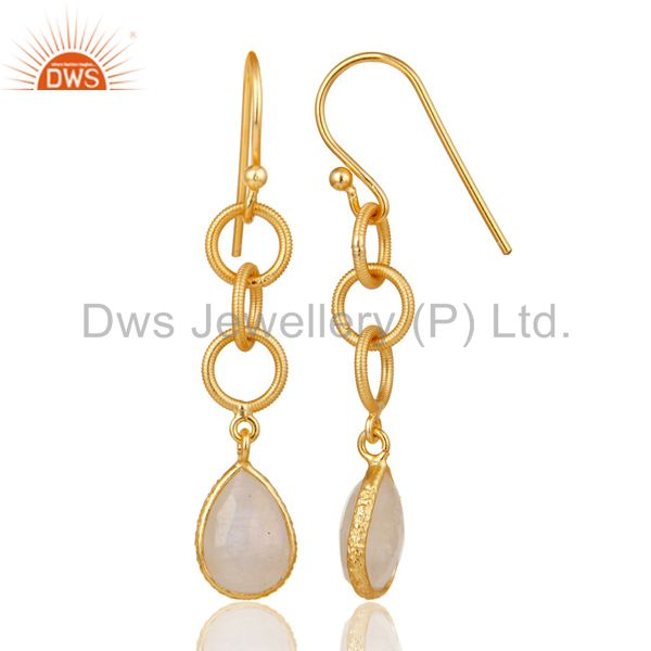 Suppliers Rainbow Moonstone Bazel Set Drop Earring With 18k Gold Plated Sterling Silver