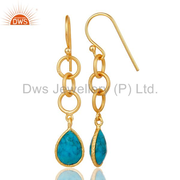 Suppliers Natural Turquoise Bazel Set Drops Earrings With 18k Gold Plated Sterling Silver
