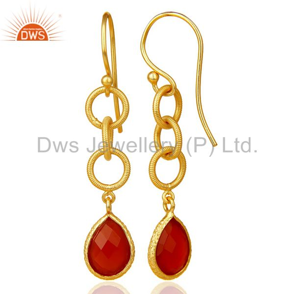 Suppliers Red Onyx Twisted Wire Circle 14K Gold Plated 92.5 Sterling Silver Earring