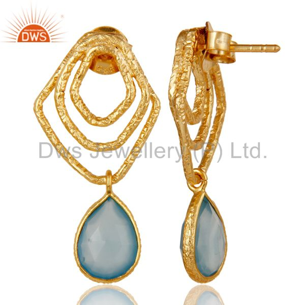 Suppliers Dyed Blue Chalcedony New Fashion Earrings With 18k Gold Plated Sterling Silver