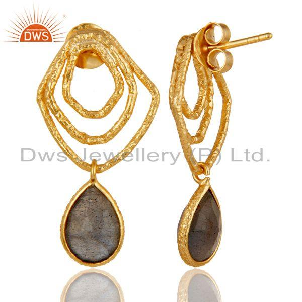 Suppliers Labradorite New Fashion Drops Earrings With 18k Gold Plated 925 Sterling Silver