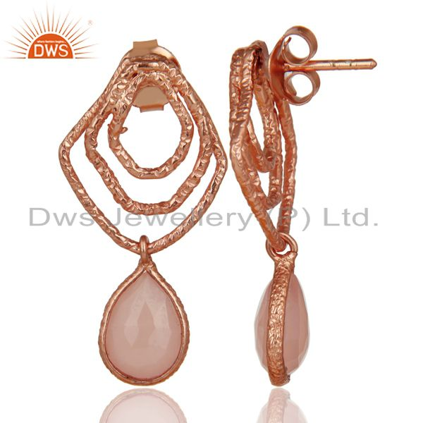 Suppliers 14K Rose Gold Plated Sterling Silver Handmade Dyed Chalcedony Dangle Earrings