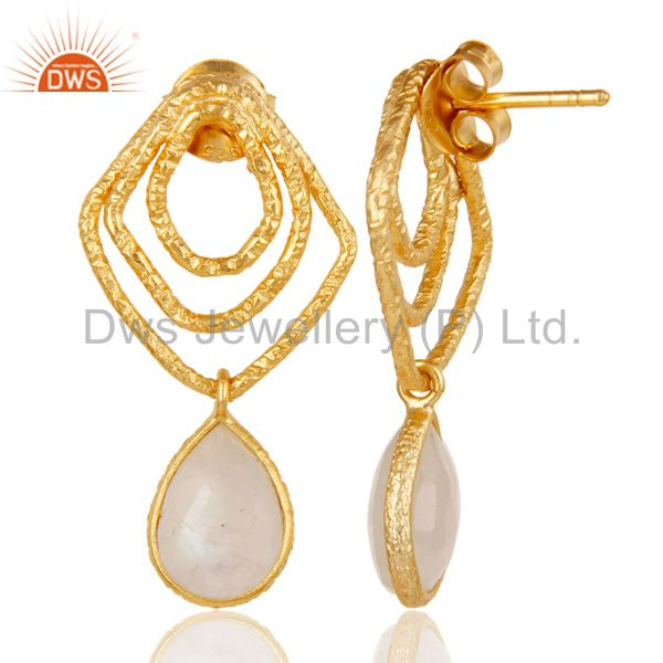 Suppliers Rainbow Moonstone New Fashion Earrings With 18k Gold Plated 925 Sterling Silver
