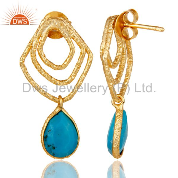 Suppliers Turquoise Zig Zag Fashion Drop Earrings With 18k Gold Plated 925 Sterling Silver