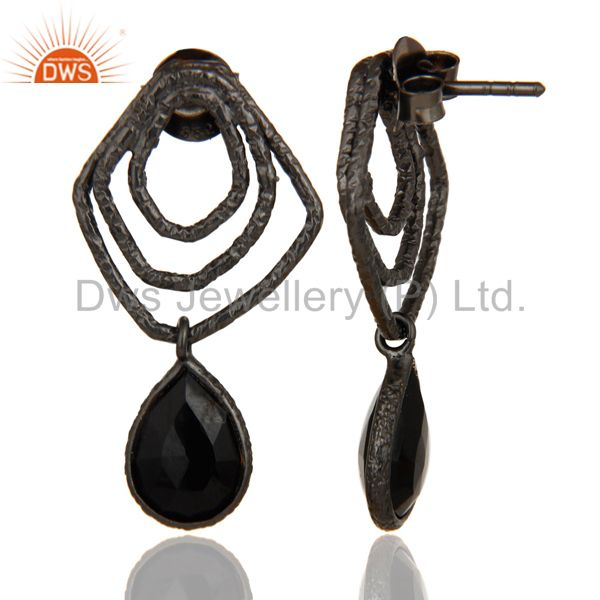 Suppliers Black Onyx Zig Zag Fashion Drop Earrings With Black Oxidized 925 Sterling Silver