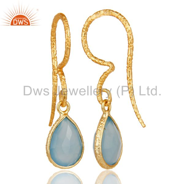 Suppliers Dyed Chalcedony Bezel Set Drops Earrings With 18k Gold Plated Sterling Silver