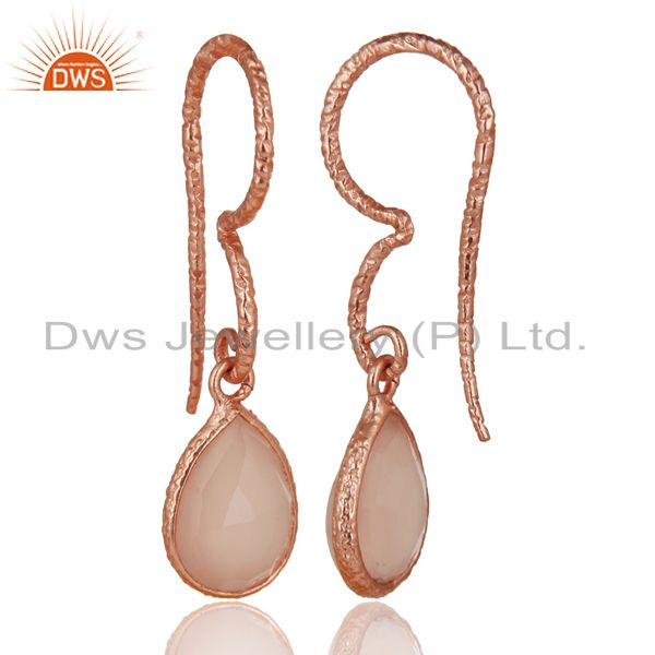 Suppliers 18K Rose Gold Plated 925 Sterling Silver Dyed Chalcedony Gemstone Drops Earrings