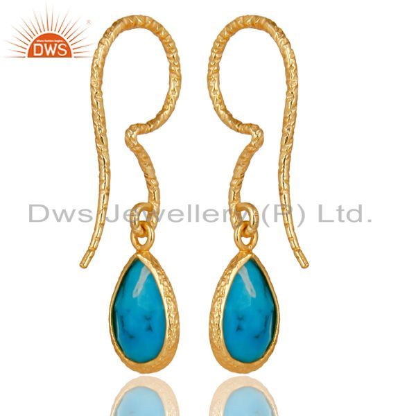 Suppliers 18K Yellow Gold Plated 925 Sterling Silver Turquoise Gemsone Drops Earrings