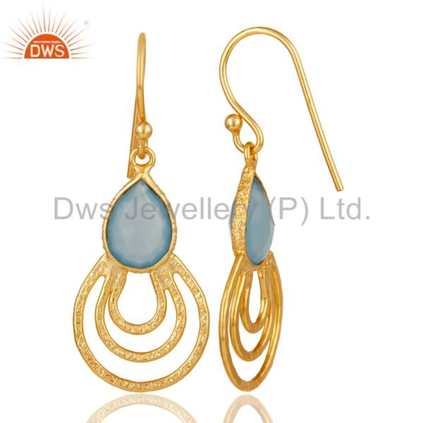 Suppliers 22k Gold Plated Sterling Silver Classic Bazel Set Blue Chalcedony Drops Earrings