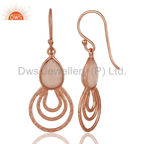 Suppliers 18K Rose Gold Plated Sterling Silver Classic Bazel Set Chalcedony Drops Earrings