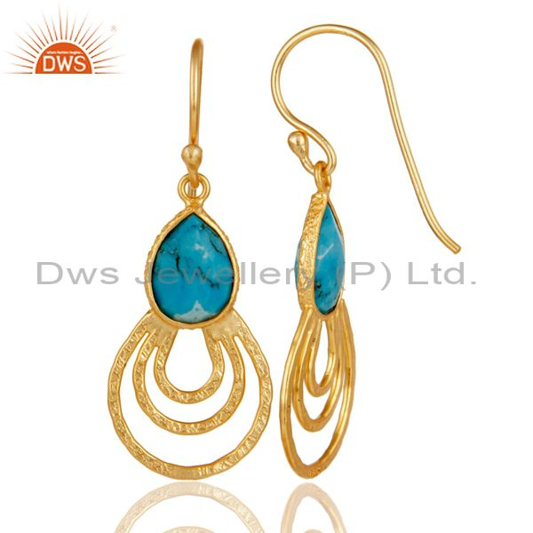 Suppliers 22k Gold Plated 925 Sterling Silver Classic Bezel Set Turquoise Drops Earrings