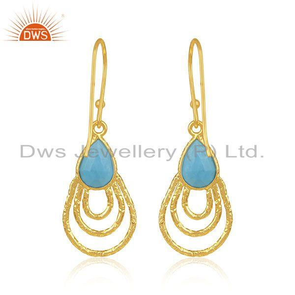 Suppliers Handmade Sterling Silver Gold Plated Turquoise Gemstone Drop Earrings Wholesaler