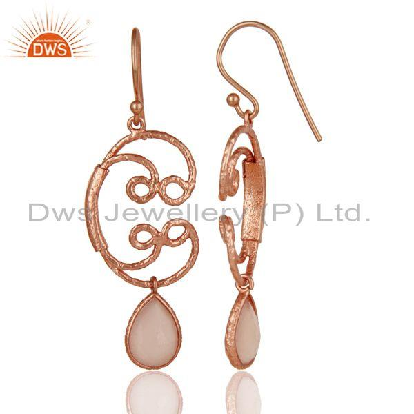 Suppliers 18k Rose Gold Plated 925 Sterling Silver Bezel Set Dyed Chalcedony Drop Earrings