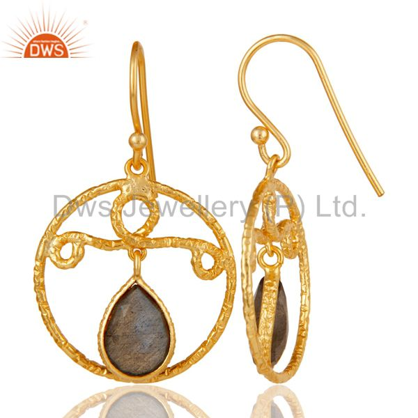 Suppliers 22k Yellow Gold Plated 925 Sterling Silver Bazel Set Labradorite Drops Earrings