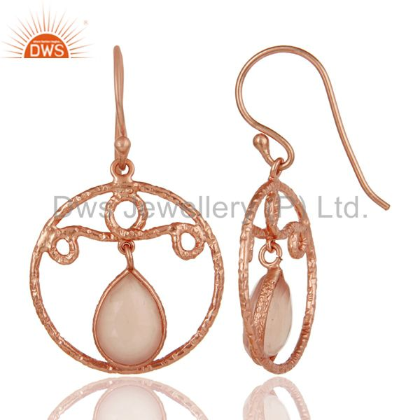 Suppliers 18k Rose Gold Plated 925 Sterling Silver Bazel Set Labradorite Drops Earrings