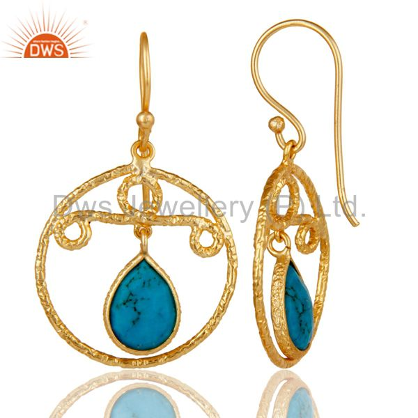 Suppliers 22k Gold Plated 925 Sterling Silver Bezel Set Natural Turquoise Drops Earrings