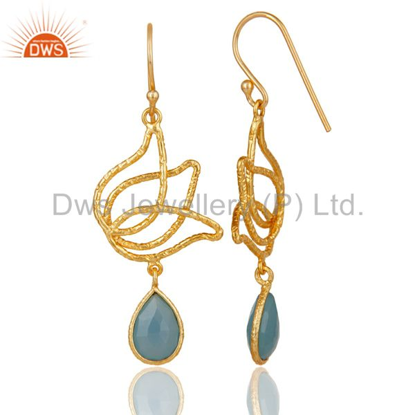Suppliers 18k Gold Plated Sterling Silver Handmade Lotus Design Chalcedony Dangle Earrings