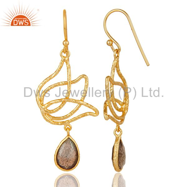 Suppliers 18k Gold Plated Sterling Silver Handmade Lotus Design Labradorite Dangle Earring