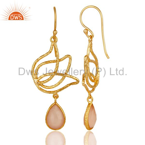 Suppliers 18k Gold Plated 925 Sterling Silver Lotus Design Dyed Chalcedony Drops Earrings
