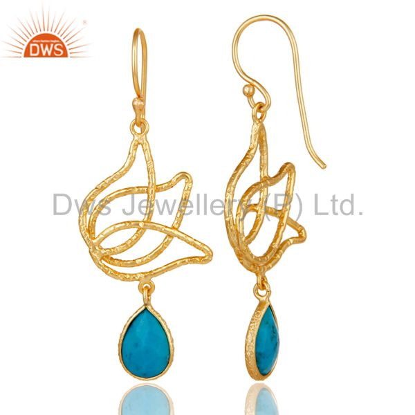 Suppliers 18k Gold Plated 925 Sterling Silver Lotus Design Turquoise Drops Earrings