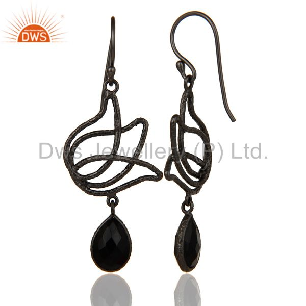 Suppliers Black Oxidized 925 Sterling Silver Lotus Design Natural Black Onyx Drop Earrings