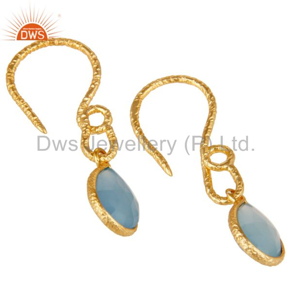 Suppliers 22K Gold Plated Sterling Silver Bezel Set Dyed Blue Chalcedony Dangle Earrings