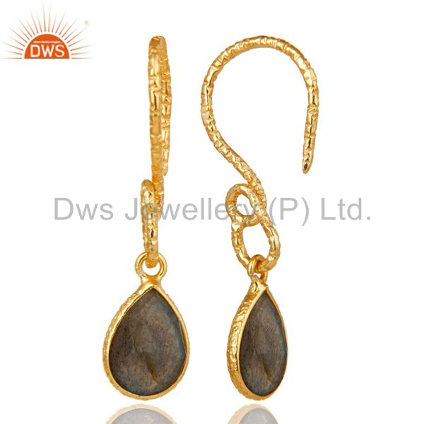 Suppliers 22K Gold Plated Sterling Silver Bezel Set Natural Labradorite Dangle Earrings
